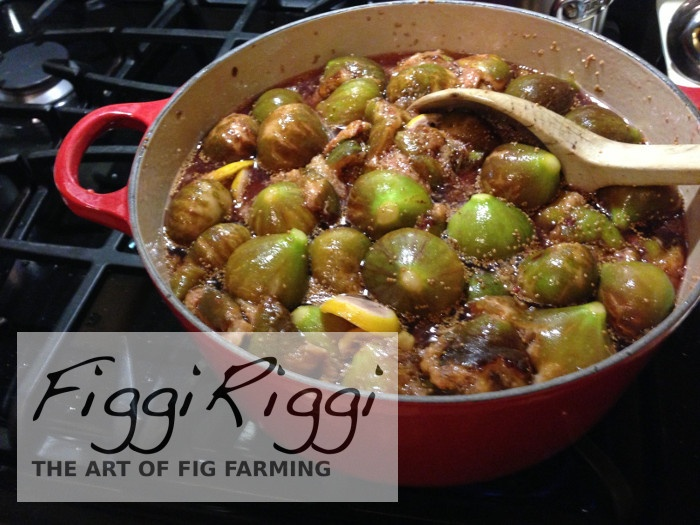 Cooking the figs in the sugary syrup