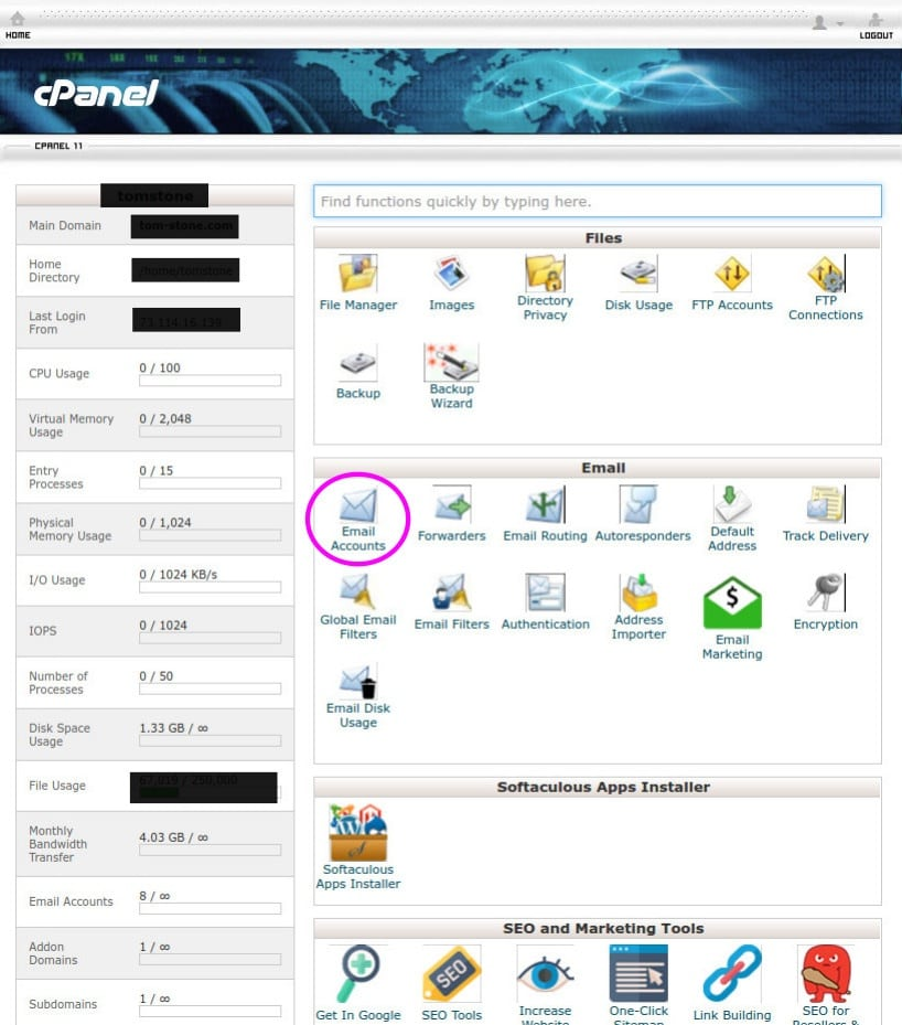 cpanel email button